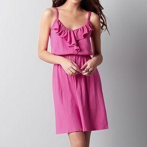 LOFT Pink Ruffle Tank Sun Dress